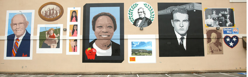 """A VIEW OF THE completed mural by Kevin Bate on the side of the United Way of the Ocoee Region's office building shows a balance of """"founding fathers, favorite sons,"""" and """"outstanding daughters."""""""