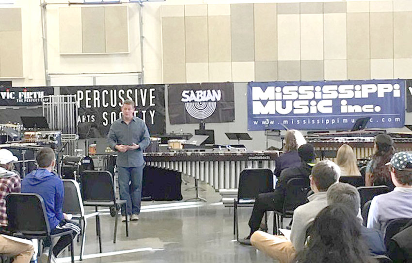 """Lee University's Dr. Andy Harnsberger, associate professor of music, recently participated in the Mississippi Day of Percussion, held at Hinds Community College in Raymond, Mississippi. Harnsberger performed selections on marimba and presented a clinic titled """"The Truth About Practice,"""" which showed students different practice strategies and hints to improve their performances. Harnsberger is pictured here  with participants at the Mississippi Day of Percussion. Lee University will host the Tennessee Day of Percussion on Feb. 23."""