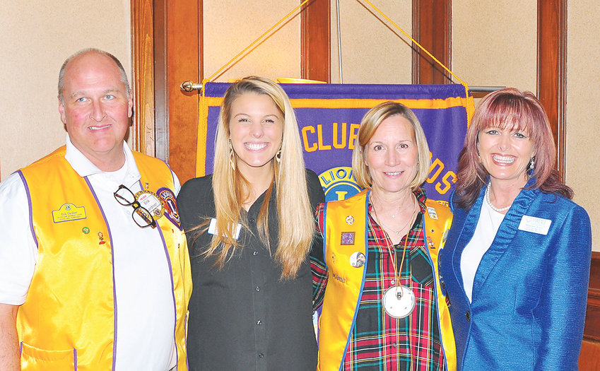 """On Wednesday, the Cleveland Lions Club heard a presentation on The Harbor at Legacy Village of Cleveland. Executive Director Shannon Alvey and Caroline Copeland of The Harbor explained the facility was designed to serve resident with Alzheimer's and other memory related disorders. The duo noted The Harbor focuses on providing """"a purposeful day"""" for residents. A special service plan is developed for each resident. From left are Lion President Erik Gardner, Copeland, Lion Lou Horner and Alvey."""
