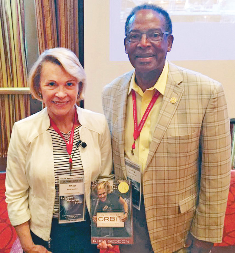 CLEVELAND VICE MAYOR Avery Johnson is pictured with Rhea Seddon, a NASA astronaut who attended the 2017 Tennessee Municipal League Conference in Murfreesboro. She is one of many celebrities and government officials with whom Johnson has met over his long career in Cleveland government.