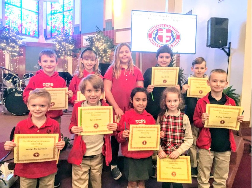 """TCPS character trait winners for February were recently recognized. Front row, from left, are Jordan McCormick, Jarret Smith, Addison Scott, Alysse Ferenchuk and Archer Freiberg. In back are Will May, Addie Beth Chord, Maggie Botts, Eljiah Smith and  Aaron Roberts. """"TCPS congratulates our Citizenship Character Trait winners for the month of February!"""" said Lower School Principal Lacy Laman."""