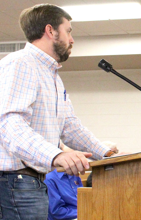 ORBA PRESIDENT Blake Allison addresses members of the Bradley County Commission's Road Committee regarding right-of-way concerns by the local builders group.