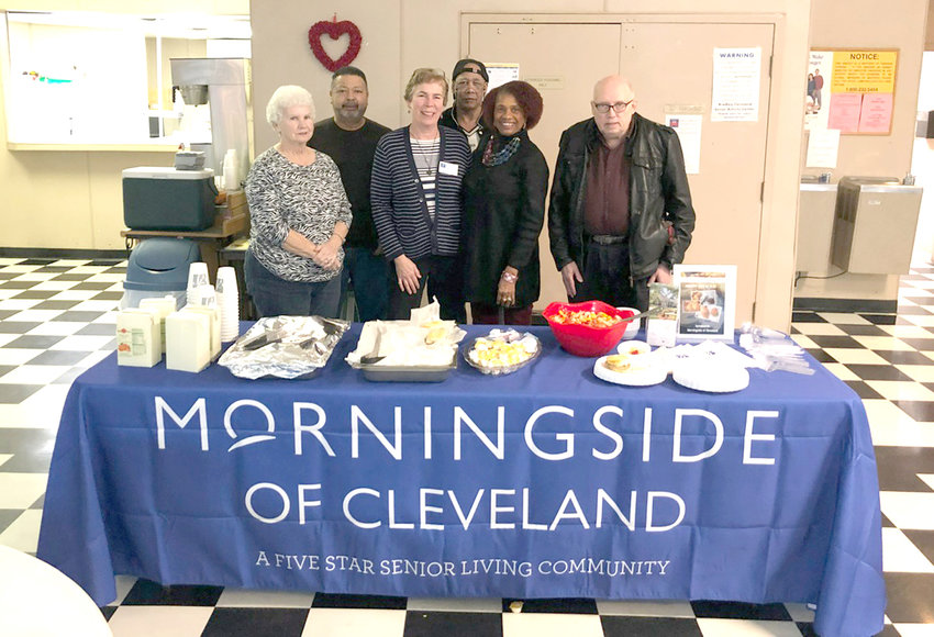 Morningside of Cleveland visited and brought breakfast to the Senior Center recently. Among those on hand for the breakfast of sausage biscuits and gravy and mixed fruit were, from left, Paulette Westmoreland, Vicky Westfield, Richard Blair, Sharon Westfield, director, and Bill Whals.