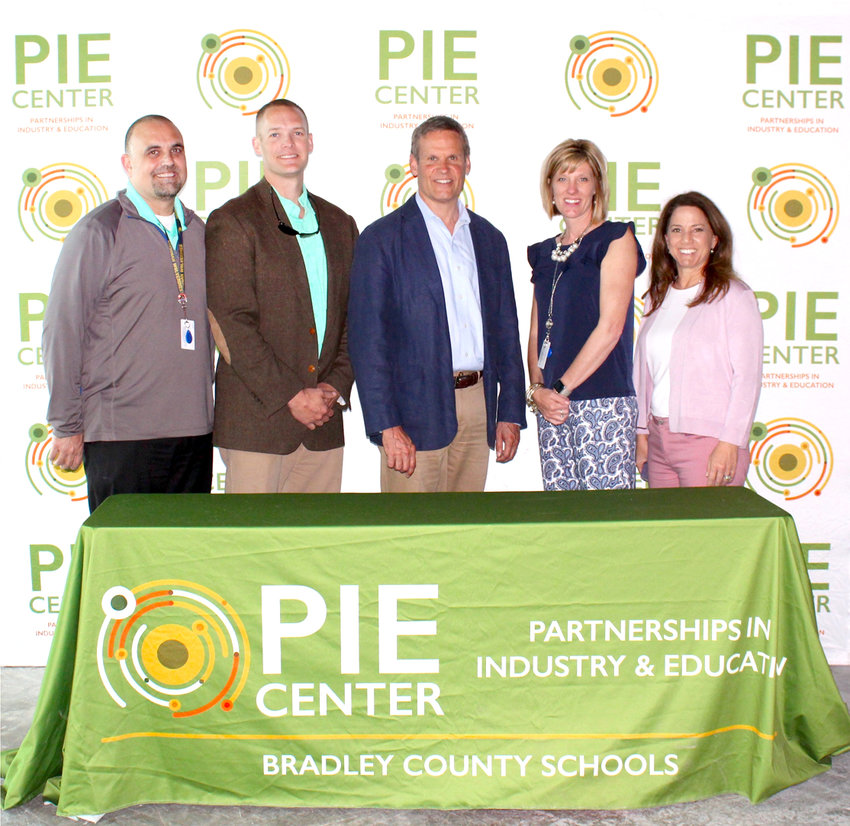 GOV. BILL LEE toured Bradley County Schools' PIE Center while on the campaign trail in 2018, and has now included $1 million in funding for it in the proposed 2019-20 state budget. From left are Bradley County Schools representatives Scott Webb and Kyle Page; Lee; Bradley County Schools representative Brittany Cannon; and first lady Maria Lee.