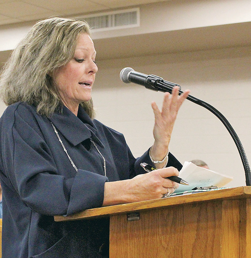 CHERI DeLAY, a Georgetown resident, spoke about animal control concerns during Monday's Bradley County Commission work session. The issue is beginning to get more attention, not only from local government but from Cleveland and Bradley County residents concerned by the growing number of stray dogs.