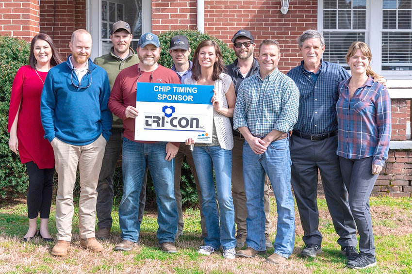 Tri-Con Inc. will sponsor the 65 Roses 5K electronic timing, a popular feature of the March 30 race at Lee University.  All proceeds from the race benefit the Cystic Fibrosis Foundation. The Terra Running Company will manage the timing process for the certified 5K race. The 3.1-mile race and walk starts at 9 a.m. on that Saturday.  This year's swag will include a shirt and running socks for participants. For more information or to register online, visit www.leeuniversity.edu/cf or contact Bill Estes, race director, at bestes@leeuniversity.edu.Tri-Con staff members, from left, front, are Jared Erwin, Edward Hicks, Alicia McGaha, Cason Conn, and Desha Conn; back, Lee University's Bethany McCoy, Tyler Beard, Jeremiah Phelps, Cole McGaha, and Ray Conn.