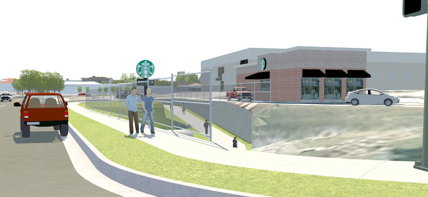 AN ARTIST'S rendering developed by WSP, USA – the civil engineering company hired by the city council to formulate a downtown redevelopment master plan – shows the Greenway emerging from underneath Inman Street to connect downtown to Starbucks and Village Green Town Center.