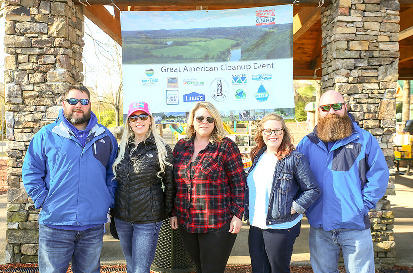 REPRESENTATIVES FROM CLEVELAND/BRADLEY Keep America Beautiful were on hand to lead the Great American Cleanup Event on Saturday from the Greenway Park Pavilion. From left are Ryan Stephens, Caryn Bledsoe, Amanda Peels, Emily Harris and Chris Broom.