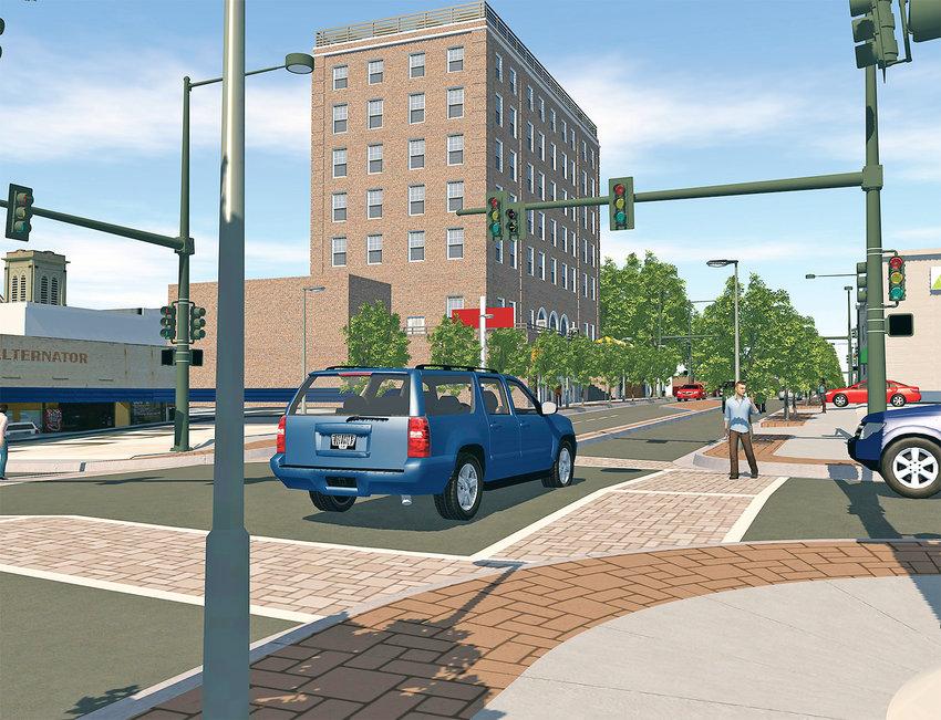 THIS ARTIST'S RENDERING, provided by consultant WSP, USA, shows the potential look of Inman Street as it enters the downtown area. In the background is the renovated Cleveland Summit, which city leaders are hoping to see return to its days as the Cherokee Hotel.