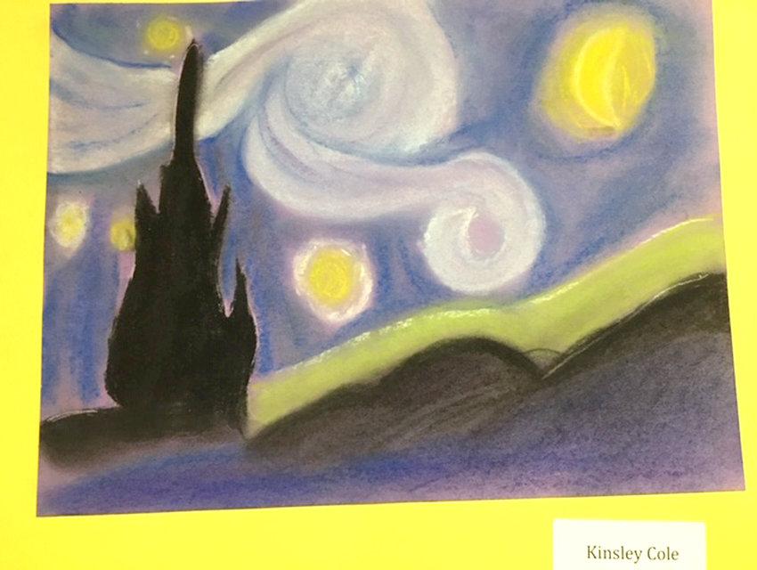 "Kinsley Cole's interpretation of Vincent Van Gogh's ""The Starry Night""."