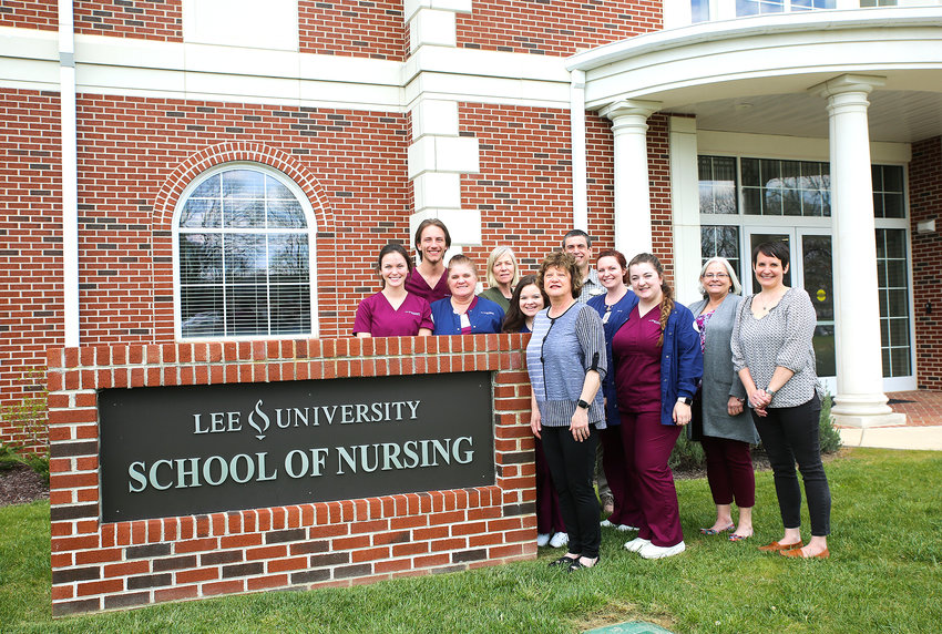 THE SCHOOL OF NURSING at Lee University has been ranked No. 1 among Tennessee Nursing programs, by career education website RegisteredNursing.org. Here, faculty, staff and students within the nursing school gather to help celebrate the achievement.