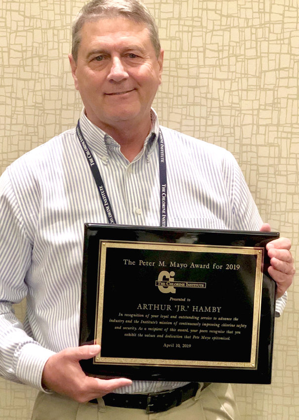 ARTHUR HAMBY JR. receives Peter Mayo Award from the Chlorine Institute.