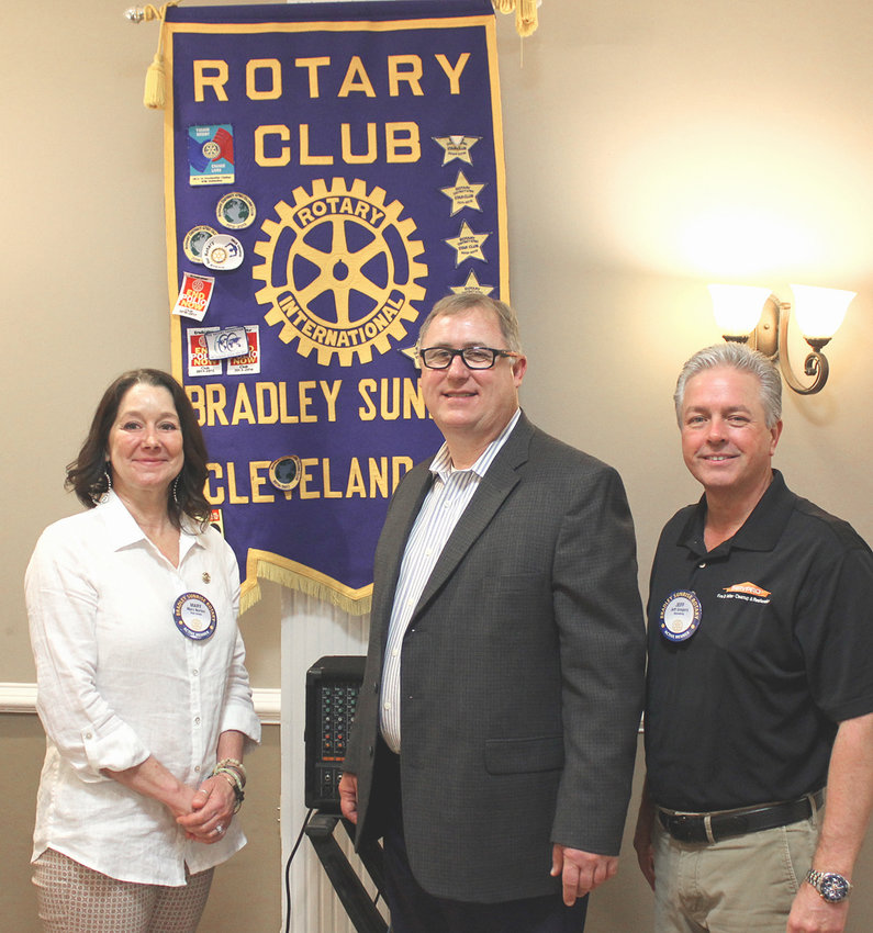 BACHMAN FOUNDATION was the focus of a Bradley Sunrise Rotary Club meeting. From left are Rotary Club President-Elect Mary Norton, Bachman Foundation Director Mark Frizzell and Rotarian Jeff Gregory.