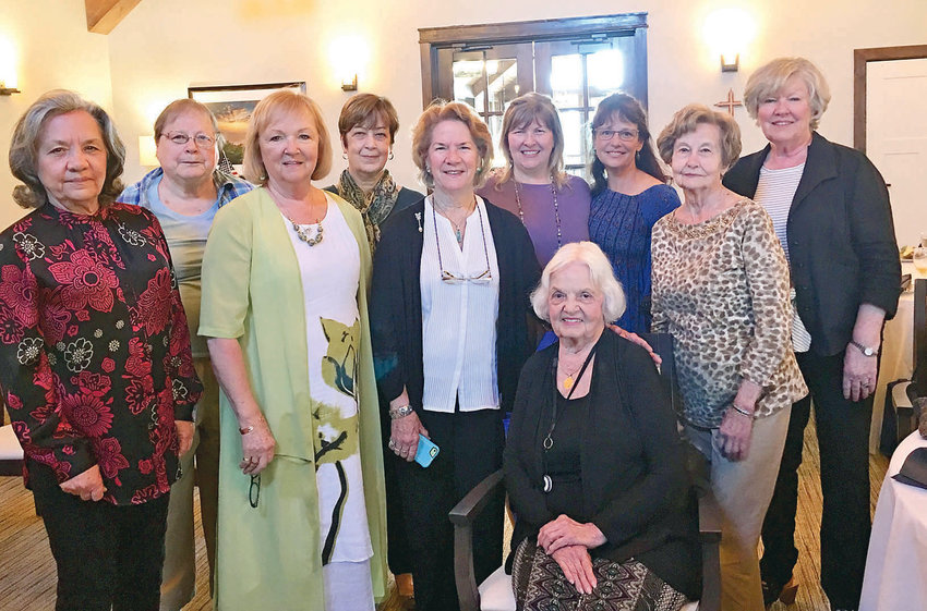 THE MAGNOLIA Garden Club installed new officers for the next two years. From left are Fredricka Lawson, Erma Brewer, Ginger Cloud, Sue Taylor, Beth Cunningham, Sheila Webb, Brenda Nakdimen, Elsie Yates and Linda Cross. Seated is Annette Stanbery.
