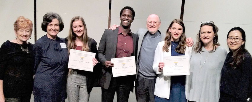Some of Lee's School of Music NATS participants and winners  are shown. From left are  Mary Beth Wickes, Cynthia Johnson, Libby Clark, John Mburu, Tony Deaton, Gabbi Flannery, Dr. Lenena Brezna, and Dr. ChoEun Lee.