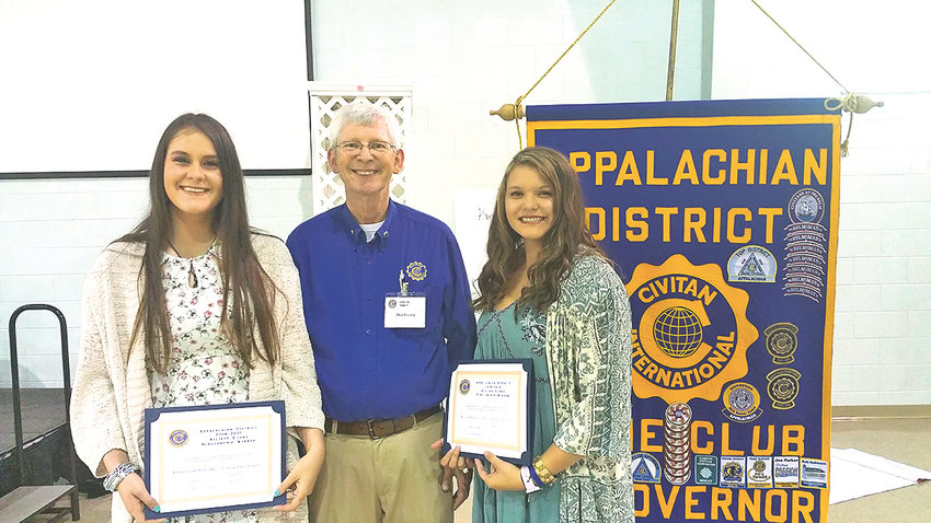 The Appalachian District Civitan spring meeting was held recently in Cleveland.   Allison Doak scholarships  were awarded to Samantha Sowders  from Cleveland  State, and Macie Boggess from Chattanooga State. From left are Sowders, Appalachian District Governor Phil Brown and Boggess.