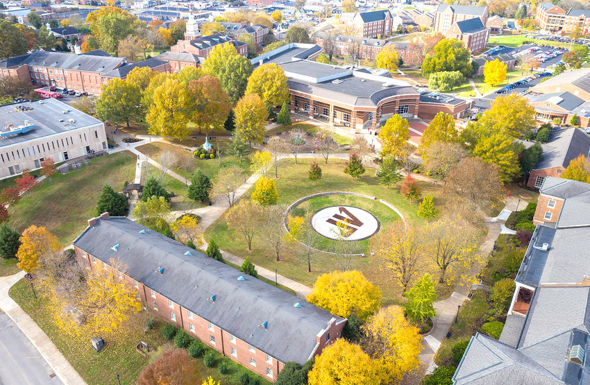 This is an aerial photo of the Austin Peay State University campus, in Clarksville.