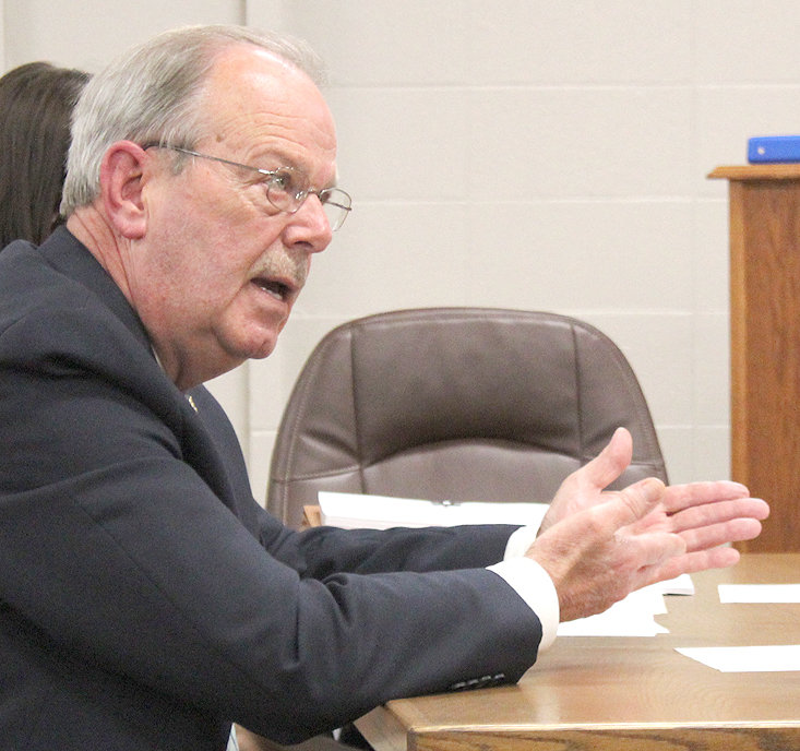 BRADLEY COUNTY Sheriff Steve Lawson speaks to members of the Bradley County Commission's Finance Committee during a budget hearing Tuesday.