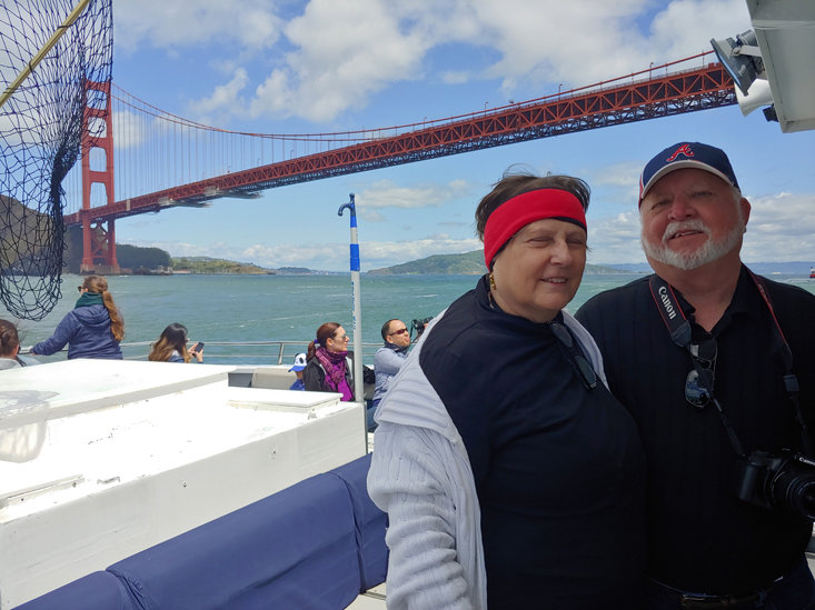Gary and Norma Ownbey: There's no better way to see the Golden Gate bridge up close than on a catamaran as you sail under it.