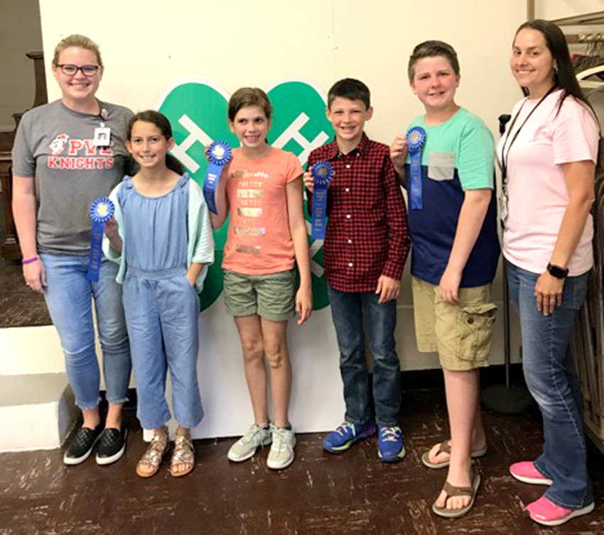 Bradley County 4-H Clover Bowl fifth-grade winners from Park View Elementary School: Cassandra Bishop (teacher), Sarah Pace, Lily Hakes, Andrew Newman, Johnny Brafford and Courtney Howell (teacher). The Park View team will go on to compete in the Regional 4-H Clover Bowl Contest in Knoxville.