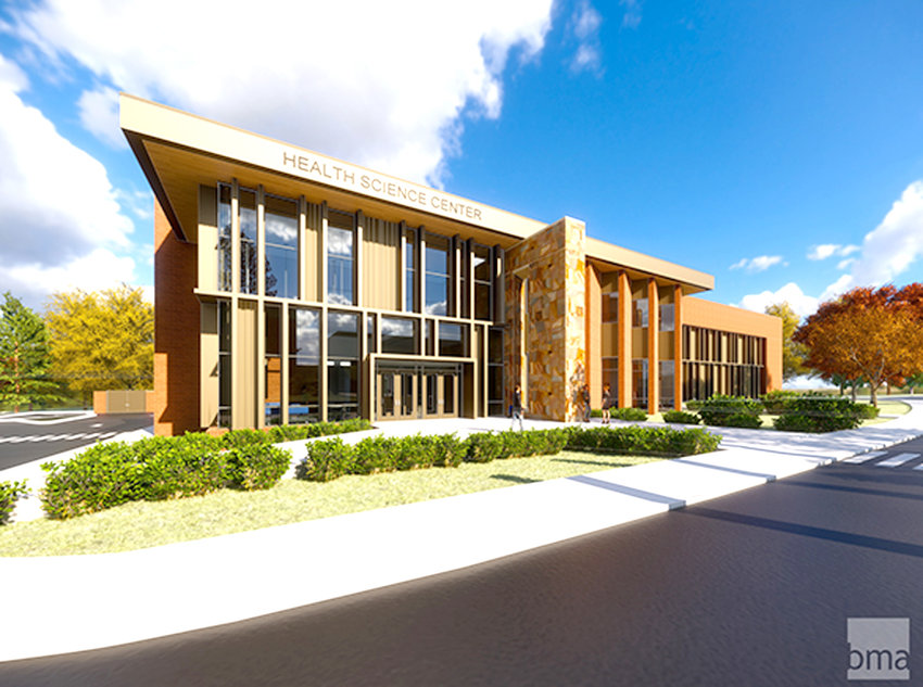 Front view of CSCC's new Health and Science Building is shown in this architect's rendering.