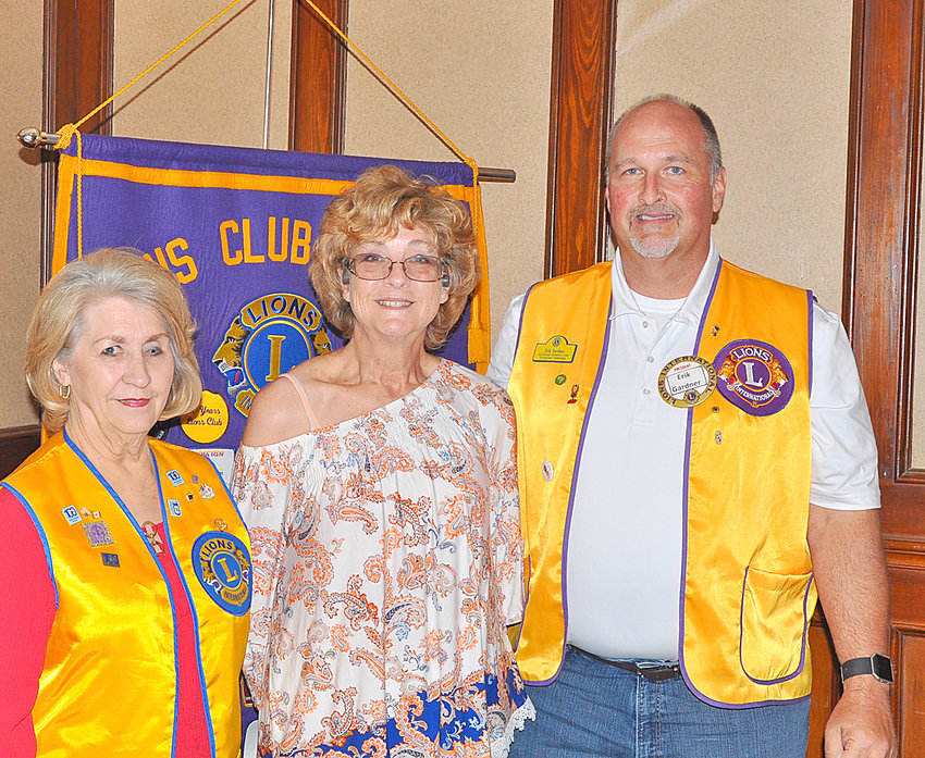 """The Past District Governor John Moon was the speaker this week for the Cleveland's Lions Club. He talked about the different programs and services provided by the club, Tennessee Lions and Lions Club International. The among the programs and projects are for leader dogs, Tennessee School for the Blind, Tennessee Lions Children' Eye Center at Vanderbilt Hospital, used eyeglass collection project; Bradley County and Cleveland City Schools vision screen program,  financial assistance for adult and children's eyeglasses and financial assistance for cataract and other surgeries. The goal of Cleveland Lions club is for """"everyone in Bradley County to see clearly."""" From left are Mel Tryon, regional chairman past district governor; Erik Gardner, Cleveland Lion Prosident; and Moon."""