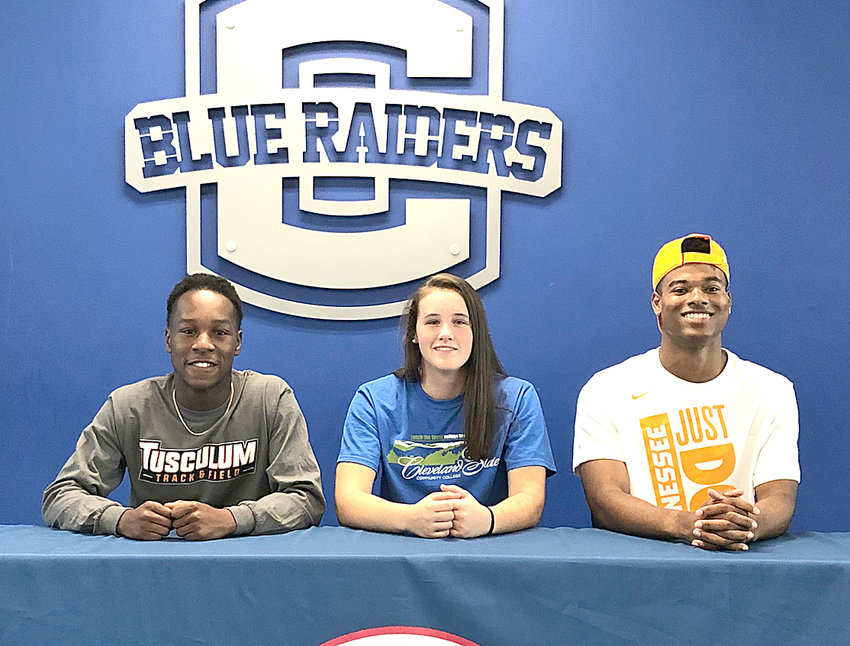 From left, Arli Ferguson, Tusculum College, track; Madison Dasher, Cleveland State Community College, basketball; and Eric Parker, University of Tennessee Knoxville, track.