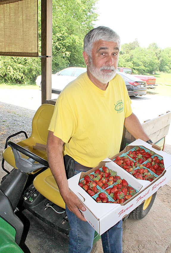 RANDALL LAMON poses with baskets of strawberries grown on the farm he operates with his sister, Sue Taylor.