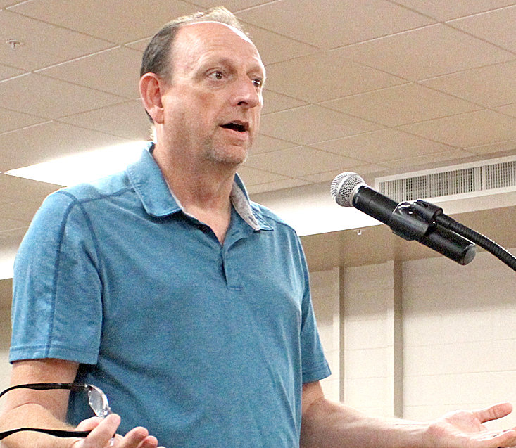 STANLEY THOMPSON, Bradley County's assessor of property, spoke to the Bradley County Commission Monday afternoon.