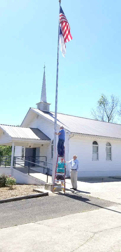 RECENTLY, WOODMEN LIFE replaced the rope from the flagpole in front of Blythe Avenue Baptist Church due to harsh weather.