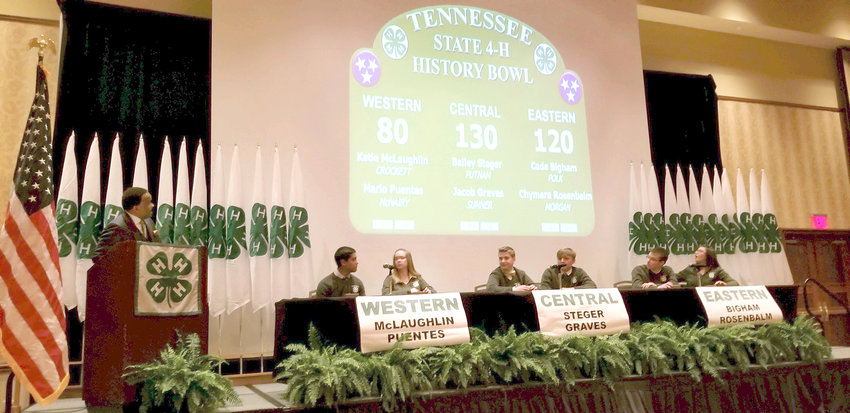State History Bowl contest is shown. The Polk County 4-H team placed second in state competition.