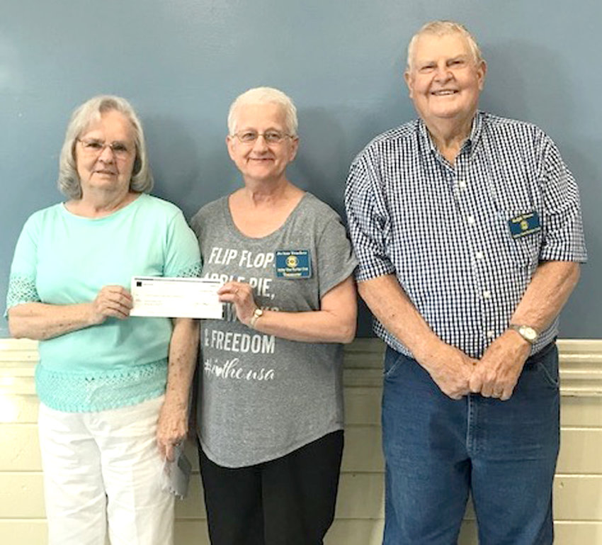 Jean Pierce presented a  check to the Valley View Ruritan Club for $820.  Pierce is a senior tax analyst at HR Block. The Non Profit Partnership allows employees opportunities to raise money for their clubs or nonprofit organizations.  Valley View Ruritan received $20 for each new client that went to H R Block with a coupon from the club and had their Income tax completed.  This is H R Block's way of giving back to the community. From left are Pierce; Joann Truelove, Cherokee District governor; and Ralph Mason, Valley View Ruritan president.