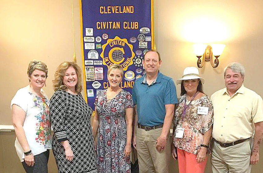 Bradley County Property Assessor Stanley Thompson provided the Cleveland Civitan Club with some insightful information regarding the methods by which real and personal property is taxed in Bradley County. From left are Rachel Brannen, Kelly Browand, Lee Tate, Thompson, Glyndora Condon and Arnold Tarpley.