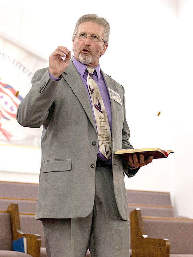 Billy Cox of Virginia was the speaker on Wednesday night at Bible Training Institute.