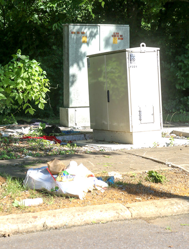 NO MATTER WHERE, some Cleveland and Bradley County residents just thoughtlessly dump litter, and entire trash bags, out their vehicles onto roadsides. One of the biggest targets is the Wildwood Avenue area, as seen here with this torn bag of trash. It is not only an eyesore, but a health hazard.