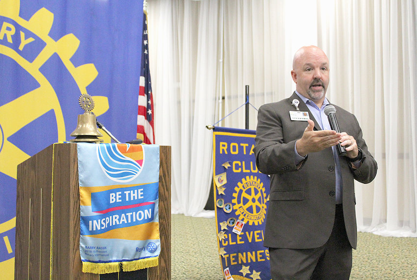 ROBBIE TESTER, vice president of operations for Life Force speaks during a Rotary Club of Cleveland luncheon held last week at the Museum Center. Tester said the air ambulance service began in 1988, and has grown from one helicopter to a fleet of six, one of which is based in Cleveland.