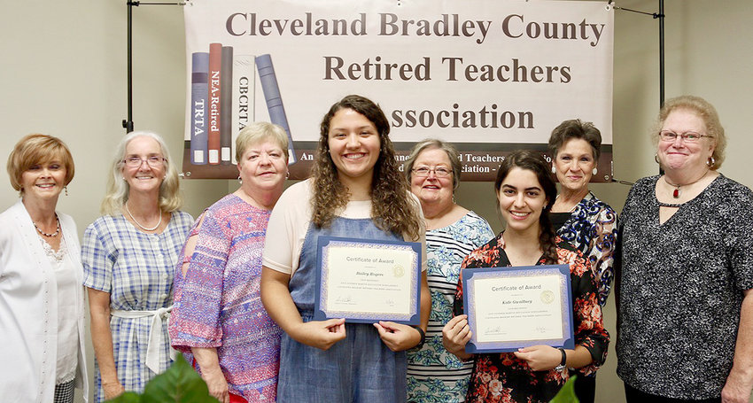 Bailey Rogers and Kate Gwaltney, front, are the recipients of the 2019 Ann Guthrie Martin Education Scholarship Award from the Cleveland Bradley County Retired Teachers Association. The award, which includes $500  made possible by voluntary donations of members of the retired teachers association, is presented to a graduating senior planning to enter the field of education. Both girls will be attending Lee University. Members of the Scholarship Committee, back row, are Sandy Sodeman, chair Deborah Flower, Dianne Fair, Carolyn Earnest, Diane Lillard, and Janet Blackwell.
