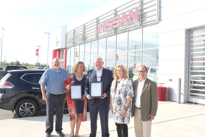 Cleveland High School and Mountain View Nissan proudly display their BEST Partnership certificate. The Chamber's newest BEST partners is a relationship between Cleveland High School and Mountain View Nissan. From left are Cleveland High School Assistant Principal Cliff Eason; Principal Autumn O'Bryan; Mountain View Nissan of Cleveland Executive Manager Thomas Williams; along with Cleveland/Bradley Chamber of Commerce Workforce Development Director Sherry Crye; and President & CEO Mike Griffin.