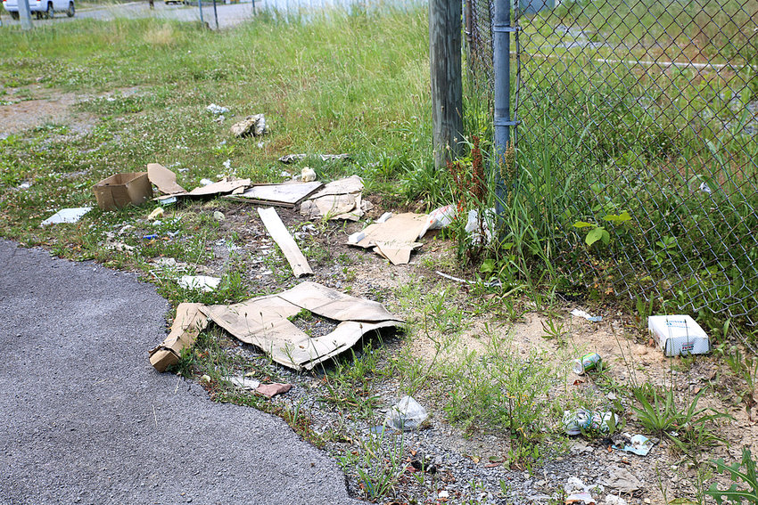LITTER is strewn on a roadway in the Wildwood Avenue area of South Cleveland. The litter looks as if it were discarded within previous weeks.