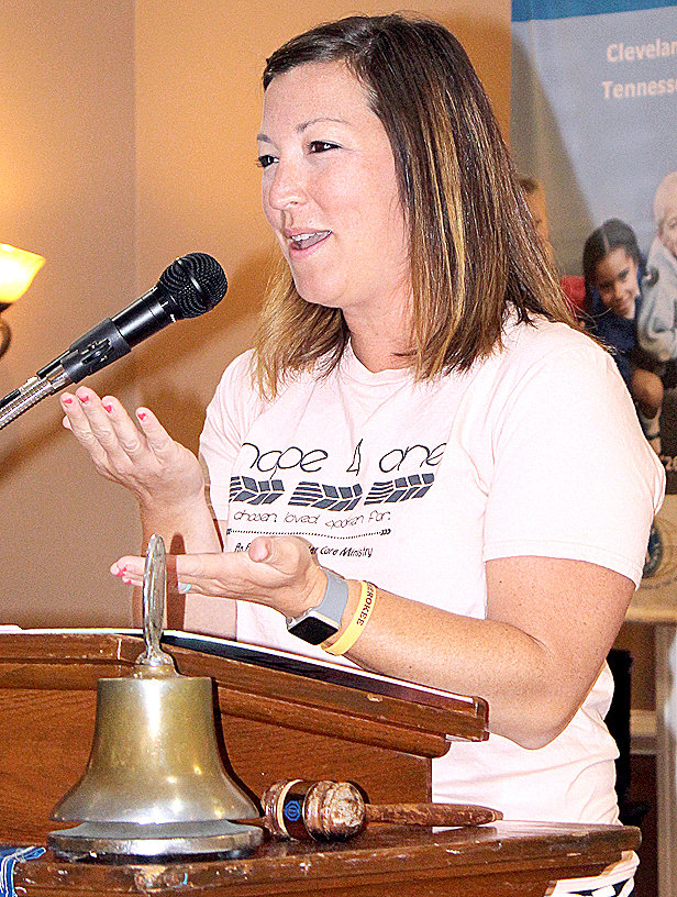 LAUREN HAUN, founder of the Hope 4 One ministries with her husband, Chad, was the guest speaker at Thursday's noon luncheon of the Cleveland Kiwanis Club at the Elks Lodge downtown. This new ministry assists foster and adoptive parents.