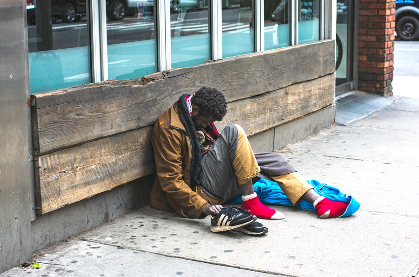 ALTHOUGH THIS PHOTOGRAPH was not taken in the Cleveland and Bradley County community, it is indicative of the growing numbers of homeless individuals and families locally. Most homeless individuals congregate in the downtown district, while some take refuge in areas near the Cleveland/Bradley Greenway.