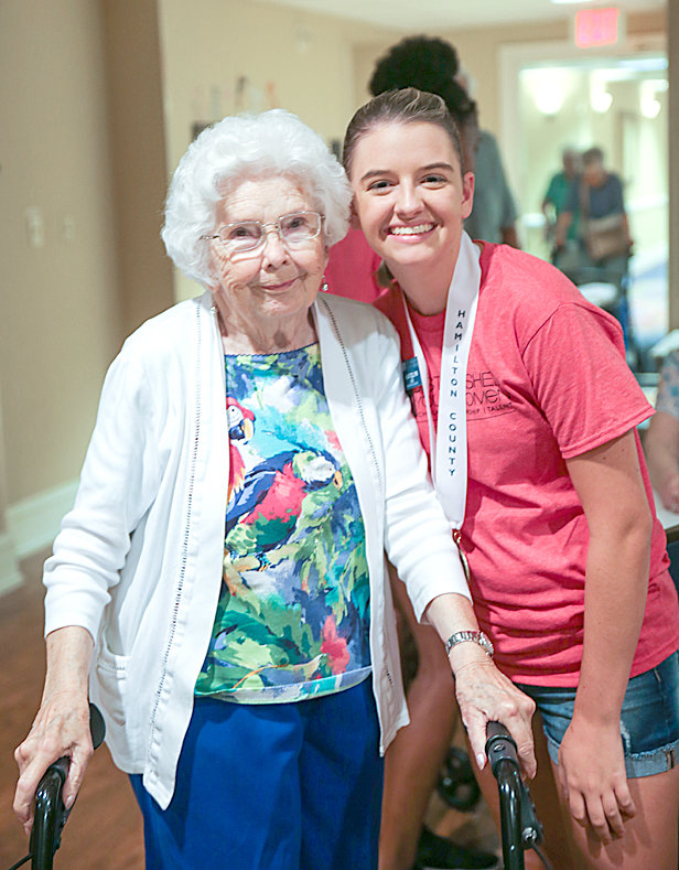 GARDEN PLAZA RESIDENT Fran Tucker, left, poses for a photo during her chat with Katelyn Lee, DYW of Hamilton County.