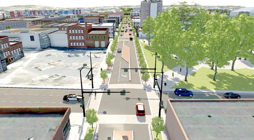 AN ARTIST'S rendering shows the results of a streetscape project that is planned for Inman Street. The project will utilize traffic-calming measures such as medians and designated turn lanes.