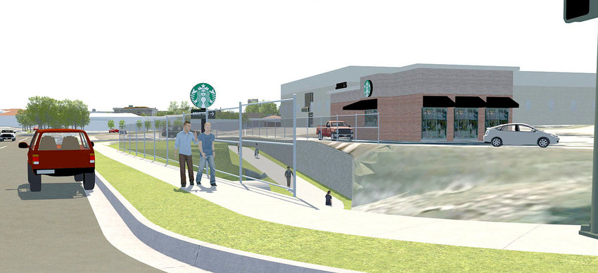 AN ARTIST'S rendering developed by WSP, USA — the civil engineering company hired by the Cleveland City Council to formulate a Downtown Revitalization Master Plan — shows the greenway emerging from underneath Inman Street to connect downtown to Starbucks and Village Green Town Center.