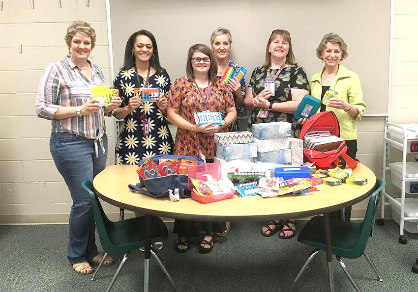 THE CLEVELAND Civitan Club delivered a generous selection of school supplies to the Blythe Bower Elementary School for their Special  Populations classrooms. From left are Rachel Brannen; Prisavia Croft, school principal;  Baily Burnette, extended resource teacher; Lee Tate; Kim Davidson, extended resource teacher; and Linda Wheeler.