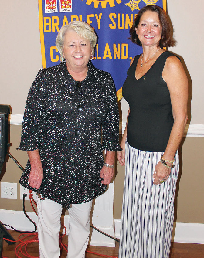THE BRADLEY COUNTY LANDFILL was highlighted during a recent Bradley Sunrise Rotary Club meeting. From left are Cheryl Dunson of Santek Waste Services and club President Mary Norton.