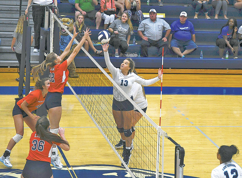 CLEVELAND STATE  opposite hitter Cydney Brock (13) goes to the net against the Lady Lions of Gadsden State Thursday, at CSCC.
