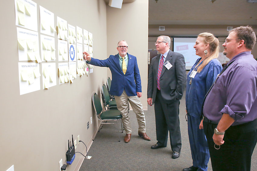 VETERANS TREATMENT COURT PLANNING Initiative staff member and Mike Loeffler, left, points to a wall that trainees filled with resource ideas for helping veterans. Pictured from left are Loeffler, U.S. Magistrate Judge Jeffrey Manske, 10th Judicial District Criminal Court Judge Sandra Donaghy and Mark Panasiewicz. The recent training took place as Judge Donaghy continues preparation for a Veterans Court in the 10th Judicial District.