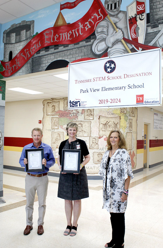 Proudly displaying their BEST Partnership certificates, the Chamber's newest BEST partners is a relationship between Park View Elementary School and Manufacturer's Chemicals. From left are Greg Gibson, Manufacturer's Chemicals LP president; Jodie Grannan, Park View Elementary School principal; and Sherry Crye, Cleveland/Bradley Chamber of Commerce Workforce Development director.