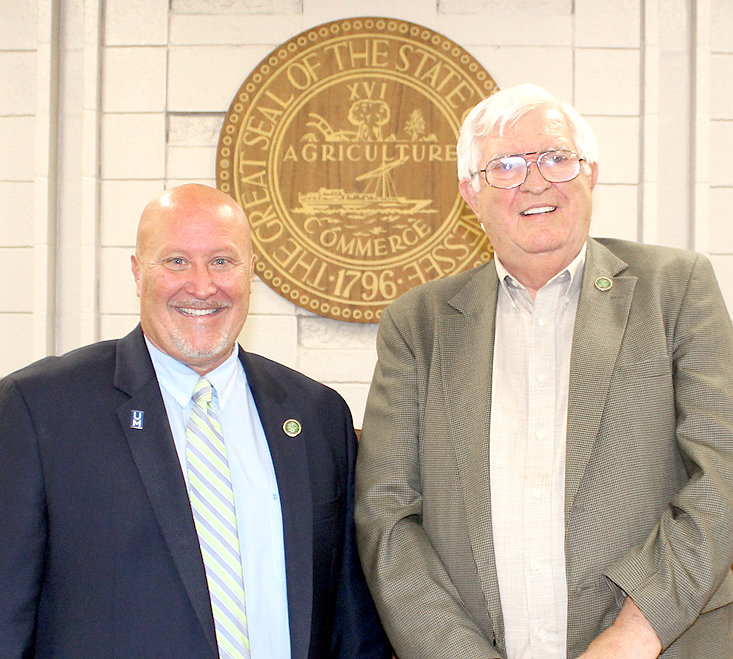 BRADLEY COUNTY Commission Chairman Johnny Mull, left, was re-elected to the post by his fellow commissioners Tuesday night, while Commissioner Thomas Crye, right, was elected as vice chairman.
